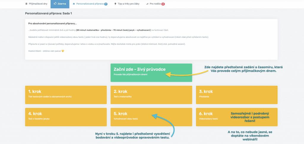 Zobrazení rozhraní pro konání přijímacích zkoušek nanečisto online.